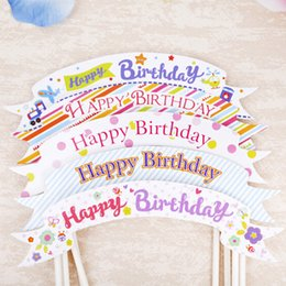 Wholesale Happy Birthday Flags - Happy Birthday cake toppers flag party decoration banners pennant flag cupcake toppers flag picks acrylic wedding use cake topper