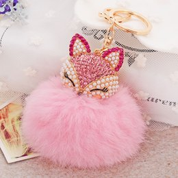 Wholesale Brown White Rabbit - 12 Colors Rabbit Fur Ball Fluffy Round Ball with Bling Bling Lovely Fox Metal Keychain Keyring Car Keychains Purse Charms Handbag Pendant