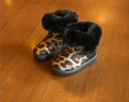 Wholesale Leopard Baby Warm Boots - New thinken winter boots fur shoes for kids baby and children adult woman super warm boots leopard fashion design girls boys big sizes 26-40