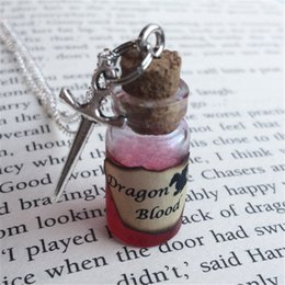 Wholesale Dragons Blood Wholesale - 12pcs lot Dragon Blood Bottle Necklace Pendant sword charm silver tone charm