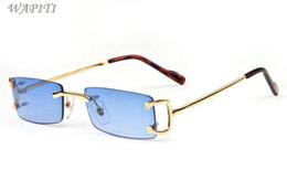 Argentina gafas de sol de diseñador cuadrado para hombres 2017 gafas de sol de lujo de metal retro gafas de sol de gran tamaño lentes de color azul claro marco claro lentes cheap blue square glasses Suministro