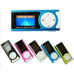 Wholesale Power Support Lcd - Wholesale- (5pcs lot) Supper Slim Mini USB Clip LCD Screen MP3 Media Player with Earphone and Power Cable Support 16GB Micro SD card