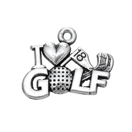 Wholesale I Love Balls - 30Pcs Metal Word Golf Ball I Love Golf Accessory Charm Jewelry