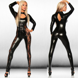 Wholesale Sexy Costume Pvc - Wholesale- Hot Sexy Black Catwomen Jumpsuit PVC Spandex Latex Catsuit Costumes Punk Gothic Clubwear Leather Bodysuit Dance