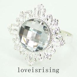 Wholesale Clear Napkin Ring Holder - Free Shipping--100pcs Clear Gem Silver Plated Napkin Rings Wedding Favors Napkin Cloth Rings Wedding Bridal Decor Napkin Serviette Holder