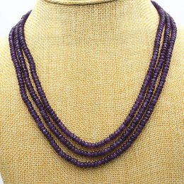 Wholesale Faceted Amethyst Beads - Free Shipping ***New NATURAL 3 Rows 2X4mm FACETED Amethyst BEADS NECKLACE AAA+02