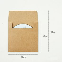 Wholesale Kraft Paper Bags Free Shipping - Wholesale- Free shipping 100pcs 12.8x12.8cm Disc CD Sleeve 250gsm Kraft DVD Paper Bag Cover CD Packaging Envelopes Pack wedding party favor