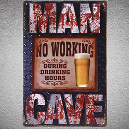 Wholesale Hours Sign - Wholesale- NO WORKING DURING DRINK HOURS Metal Signs Vintage home decor 20x30cm iron painting MAN CAVE Garage wall art metal plates