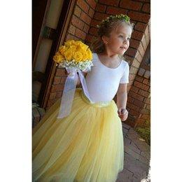 Wholesale Tulle Childrens Dress - Tutu Lovely Yellow Long Flower Girl Dresses Tulle Skirts A Line Pleated Kids Formal Wear Floor Length Handmade Childrens Formal Gowns
