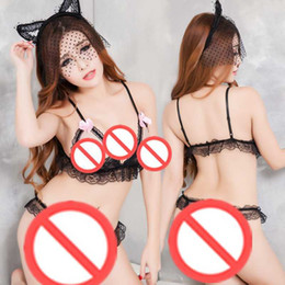 Wholesale Open Crotch Uniform Lingerie - Free Shipping New sexy lingerie cosplay sexy lingerie temptation transparent lace female three-point open crotch open milk uniform pajamas c