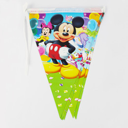 Wholesale Cm Themes - Wholesale- Kids Boy Baby Birthday Party Decoration Kids Supplies Favors Mickey Mouse Theme Paper Pennant Banner 12 Flags Pack Length 280cm