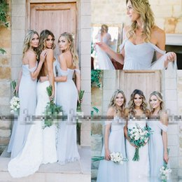 Wholesale Cheap Wedding Gowns Blue - Amsale 2017 Gorgeous Draped Sky Blue Off-shoulder Beach Boho Long Bridesmaid Dresses Bohemian Wedding Party Guest Bridesmaids Gown Cheap