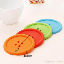 Wholesale Cute Mats - Cute Colorful Silicone Button Coaster Cup Mat Drink Place mat  Modern Kitchen Accessory round silicone coasters cute bu