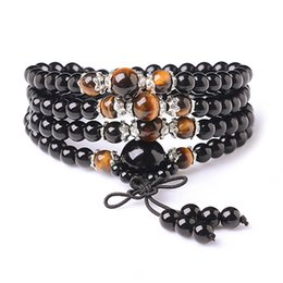 Wholesale Tiger Eye Bracelet For Women - Natural Agate Bracelet Black Buddha Onyx Stone 108 Bracelet Women Handmade Accessories Tiger Eye multi-turn Bracelet For Women