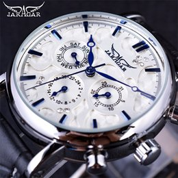 Wholesale Elegant Wrist Watch - Jaragar Blue Sky Series Multi-fonction Elegant Design Genuine Leather Strap Male Wrist Watch Mens Automatic Mechanical Watches Top Brand Lux