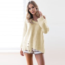 Wholesale Computer Clubs - 2018 New Ripped Sweater Women Hip Hop Pullover Sweaters V-Neck Long Sleeve Knit Shirt Top Spring Autumn Loose Knitwear Club Top DZG0901