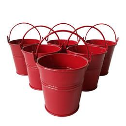 Wholesale Red Party Favor Pails - D7*H7CM Red Party Favor Metal mini Pail Tin bucket Rustic Succlents Pots Decorative Galvanized Meat plant pot Iron pots