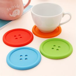 Wholesale Silicone Magic Mat - Wholesale- Hot Magic Kitchen Cute Silicone Round Button Coaster Cup Mats Home Table Non-slip Pads Decor Coffee Placemat _50