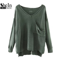 Wholesale Acrylic Dip - Wholesale-SheIn Casual Pullovers For Women Autumn Ladies V Neck Drop Shoulder Long Sleeve Dip Hem Loose Sweater With Pocket
