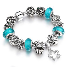 Wholesale European Ring Charm - European Style Authentic Tibetan Silver Bracelet Allow Silver Plated Bead With bubbles Crystal Charm Bracelet Women Jewelry SL26