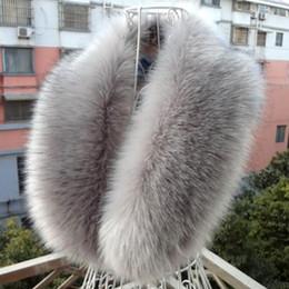 2019 fuchspelz-umschlag Großhandel-Frauen-Wintermode Faux Fox Pelzkragen Schal Schal Kragen Frauen Wrap Stola Schals Halswärmer 80cm günstig fuchspelz-umschlag
