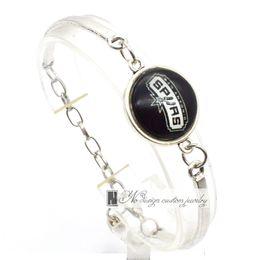 Wholesale Bracelet Basketball - 2017 Fashion Bracelet&Bangle San Antonio Professional basketball Spurs University Team Sport Charms Bracelet for Women Fan Jewelry SP010