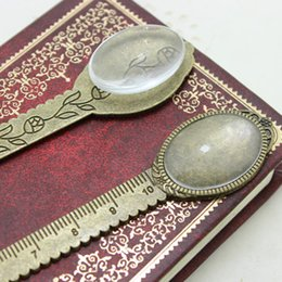Wholesale Oval Bookmark - Antique Bronze Alloy Cameo oval ruler Bookmarks 21*134mm(Fit 18*25mm ) Round Cabochon Settings + Clear Glass Cabochons