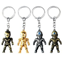 Wholesale Metal Men Movie - Hot Sale Movie Jewelry Captain America Iron Man Keychain Stereoscopic Alloy Car Key Rings & keychain Holder Keyring For Gift