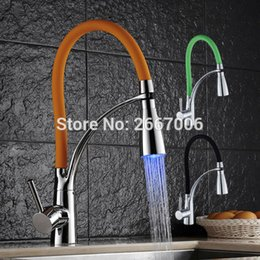 Wholesale Luxury Pull Out Kitchen Tap - Wholesale- Free shipping Hot Three Colors choose Luxury Chrome Brass Finished LED Modern Faucet Pull out kitchen faucet Mixer tap ZR655