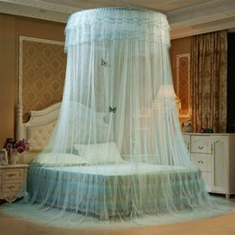 Wholesale Mosquitoes Curtains - Luxury Romantic Hung Dome Mosquito Net Princess Students Insect Bed Canopy Netting Lace Round Mosquito Nets Curtain for Bedding