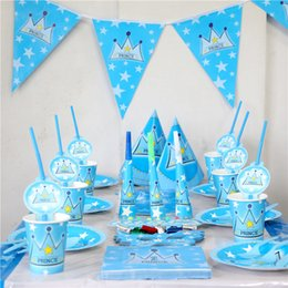 Wholesale Crown Shower Favors - Wholesale- 132 pcs\lot Party Decoration Prince Theme Kids Favors Cups Birthday Tablecover Plates Napkins Baby Shower Straws Crown Supplies