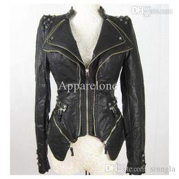 Wholesale Womens Leather Studded Jacket - Wholesale-New Womens Punk Spike Studded Shoulder PU Leather Jacket Zipper Coat Size s XL