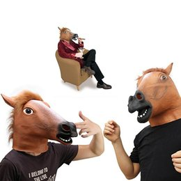 Wholesale Horse Head Mask Wholesale - Creepy Horse Mask Head Halloween Costume Theater Prop Novelty Latex Rubber Fast free shipping