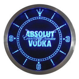 Wholesale Neon Led Wall Clock - Wholesale- nc0475 Absolut Vodka Neon Sign LED Wall Clock