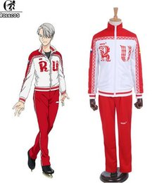 Wholesale Yuri Costume - 2017 wholesale hotsale New Anime Yuri!!! on Ice Cosplay Costumes Victor Nikiforov Cosplay Clothes Sport Suit Jacket Pants Cosplay Costumes