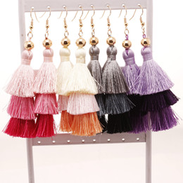 Wholesale Tassels Multicolor - 2017 New Women Dangle Earrings Bohemia Long Tassel Earrings Elegant Women Fashion Exaggerated Multicolor Jewelry 8 Colors