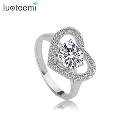 Wholesale Heart Shaped White Gold Ring - Heart Shaped Cubic Zircon Ring with Micro CZ Side Stones Engagement Ring for Women White-Gold Color Jewelry LUOTEEMI