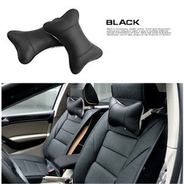Wholesale Headrest Leather - New 4 Colors Leather Hole-digging Headrest Car Headrest Supplies Neck Auto Safety Car Seat Covers Headrest CIA_605