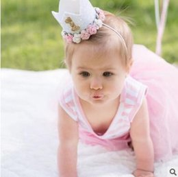 Wholesale Princess Birthday Hats - Princess Birthday Hat Headband Sequins Pink Flowers Crown Party Decorations Headband for Baby and Girls Head Wear Photo Props 632