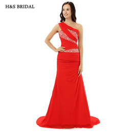 Wholesale Fitted One Shoulder Sexy Dress - H&S BRIDAL One Shoulder Red Mermaid Prom Women Evening Gowns New Arrival 2017 Fitted Fashion Party Evening Dresses lg0217