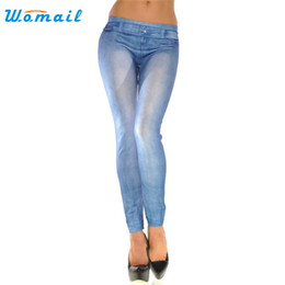 Wholesale Most Skinny - Wholesale- Hot Brand Womail The most Women Ladies Skinny Solid Color Denim Stretch Sexy Pants Soft Tights