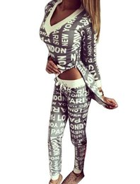 Wholesale Track Costume - Womens Sets Sexy Track Suit Women Costumes Casual Cotton Letter Printed Irregular Zipper Hoodies+Pants 2 Piece Set
