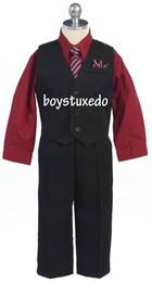 Wholesale Dressy Dress Size 12 - Boy's Black 4 Piece Suit Formal Dressy Vest Set Burgundy Dress Shirt Size 2T-20