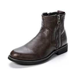 Wholesale Short Boots For Men - Wholesale-Winter Ankle Boots With Short Fur Lined For Men Zipper Martin Black Brown Shoes With Rubber Bottom Free Shipping Eur Size 40-45