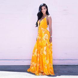 Wholesale Maxi Dresses Designs - New Design Summer Style Women Dress Sexy Yellow Printed Chiffon maxi dress Maxi Beach Dress Casual V-Neck Dresses