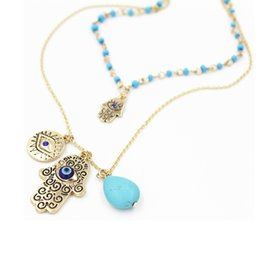 Wholesale Wholesale Hamsa Earrings - Vintage Multilayer Gold Plated Chain Fatima hamsa Hand Pendants Necklace Luck Hand Turquoise Palm nice Necklace collares