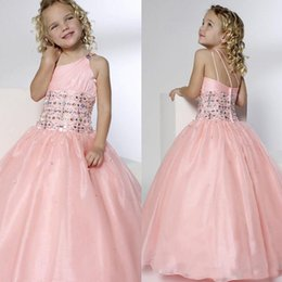 Wholesale kids simple gowns - Kids Formal Wear Floor Length Crystals Sparked One Shoulder Neck Sleeveless Custom Made Prom Dresses Ball Gown Simple Design Cheap Price