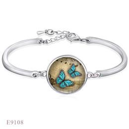 Finition argent réglable papillon ouvert musique modèle bracelets bracelets pour les femmes verre cabochon chaîne charme bracelet bijoux ? partir de fabricateur