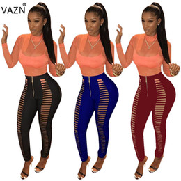 Wholesale Women Straight Elegant Black Pants - VAZN 2017 New Women Hot Fashion Sexy Pants Hollow Out Full Length Pants Elegant Bodycon Pants S2010 q1118
