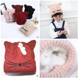 Wholesale Kids Knit Cat Beanie - Thick Winter Knitted Caps Baby Hat Top Quality Winter Warm Thicken Girl Kids Folds Casual Beanies Solid Color Cute Cat Skull Caps